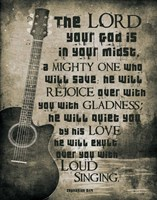 Zephaniah 3:17 The Lord Your God (Guitar Sepia) Framed Print