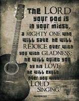 Zephaniah 3:17 The Lord Your God (Guitar Sepia) Framed Print