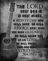 Zephaniah 3:17 The Lord Your God (Guitar Black & White) Framed Print