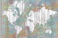 Boho Map I Framed Print