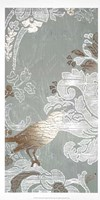 Gilded Damask Songbird I - Metallic Foil Fine Art Print