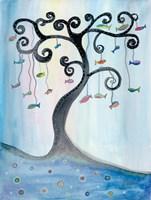 Fishing Tree Framed Print