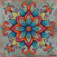 Mandala Blue Leaves Framed Print