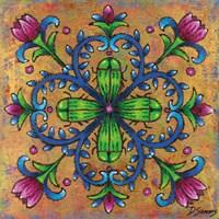 Mandala Green Beetles Framed Print