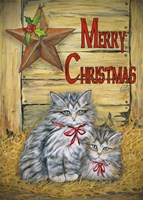 Cats in Barn - Merry Christmas Framed Print