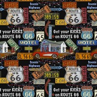 Route 66 -  Black I Fine Art Print