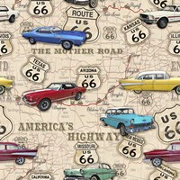 Route 66 Muscle Car Map Fine Art Print