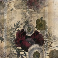 Floral Collage Burgandy Bloom Fine Art Print