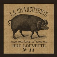French Pig Burlap Fine Art Print