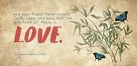 1 Corinthians 13:13 Faith, Hope and Love (Butterflies) Fine Art Print