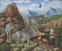 Scouting the Horizon - Grey Wolves Fine Art Print