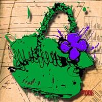 Flower Purse Purple On Green Fine Art Print