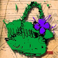 Flower Purse Purple On Green Fine Art Print
