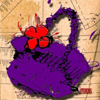 Flower Purse Red On Purple Fine Art Print