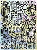Robot Crowd Color Fine Art Print