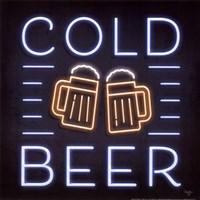 Neon Cold Beer Fine Art Print