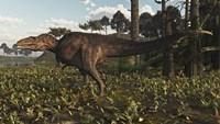 Acrocanthosaurus Dinosaur Roaming A Cretaceous Landscape Fine Art Print