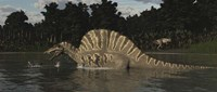 Spinosaurus Hunting For Fish In A Lake Fine Art Print
