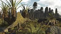 A Triassic Scene With The Sailback Arizonasaurus And Some Dicynodonts Fine Art Print