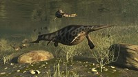 Hupehsuchus Marine Reptiles Swimming In Triassic Waters Fine Art Print