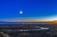 Moon with Antares, Mars and Saturn over Bow River in Alberta, Canada Fine Art Print