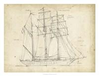 Sailboat Blueprint I Framed Print