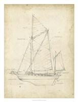 Sailboat Blueprint V Framed Print