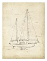 Sailboat Blueprint VI Framed Print