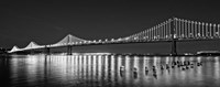 Bay Bridge lit up at night, San Francisco, California Framed Print