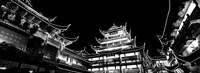 Low Angle View Of Buildings Lit Up At Night, Old Town, Shanghai, China Fine Art Print