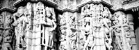 Sculptures carved on a wall of a temple, Jain Temple, Ranakpur, Rajasthan, India BW Fine Art Print