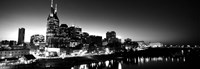 Skylines at night along Cumberland River, Nashville, Tennessee Fine Art Print