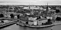 High angle view of a city, Stockholm, Sweden BW Fine Art Print