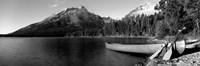 Canoe in lake in front of mountains, Leigh Lake, Rockchuck Peak, Teton Range, Wyoming Fine Art Print