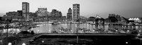 Inner Harbor, Baltimore, Maryland BW Fine Art Print