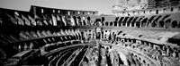 High angle view of tourists in an amphitheater, Colosseum, Rome, Italy BW Fine Art Print