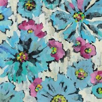 Graphic Pink and Blue Floral I Framed Print