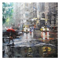Manhattan Red Umbrella Framed Print