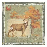 Deer / Deer / Elk on Green Framed Print
