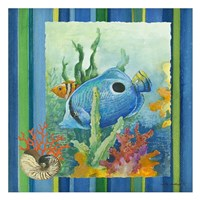 Tropical Fish IV (striped background) Fine Art Print