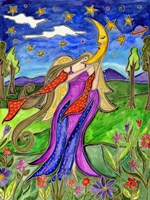 Big Diva Angel And Moon Fine Art Print