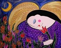 Big Diva Angel With Flowers Fine Art Print