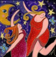 Big Diva Moon Goddesses Dancing Fine Art Print