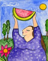 Big Diva With Watermelon Fine Art Print