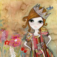 Big Eyed Girl I Am The Queen (No Words) Fine Art Print