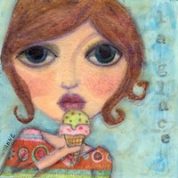 Big Eyed Girl Ice Cream Cone Fine Art Print