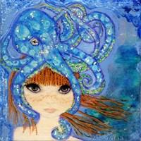 Big Eyed Girl Ocean Blue Fine Art Print