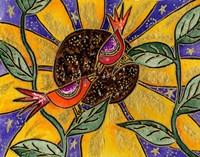 Birdies And Sunflower Fine Art Print