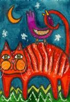 Birdy Got My Tail Kitty Fine Art Print