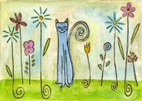 Blue Cat In The Flower Garden Fine Art Print